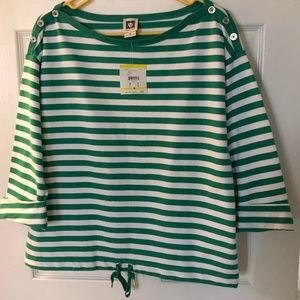 Anne Klein Striped Sweatshirt